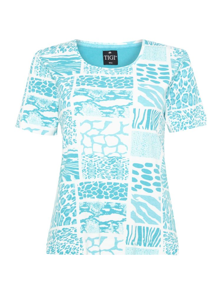 TIGI All Over Patch Animal Print Top Blue