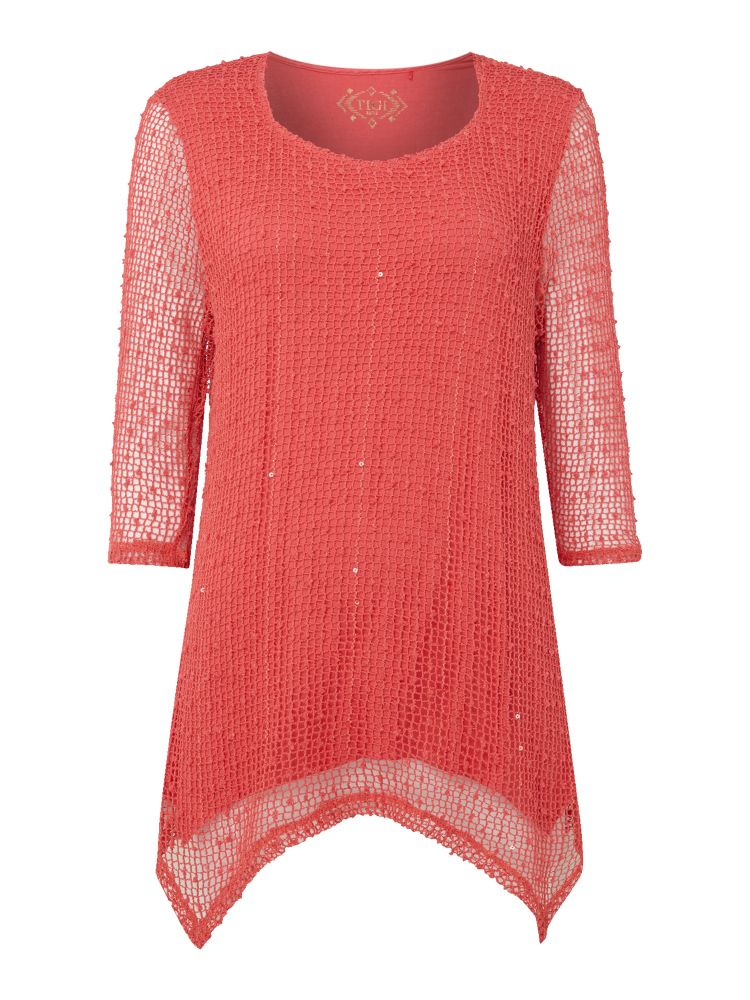 TIGI Sweetheart Neck Top, Coral