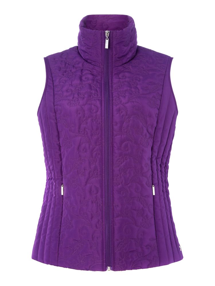 TIGI Quilted Floral Gilet, Purple