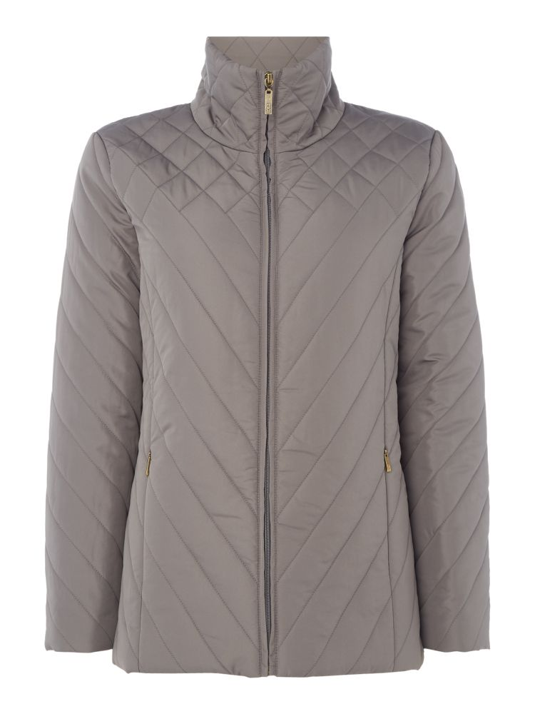 TIGI High Neck Quilted Jacket, Grey