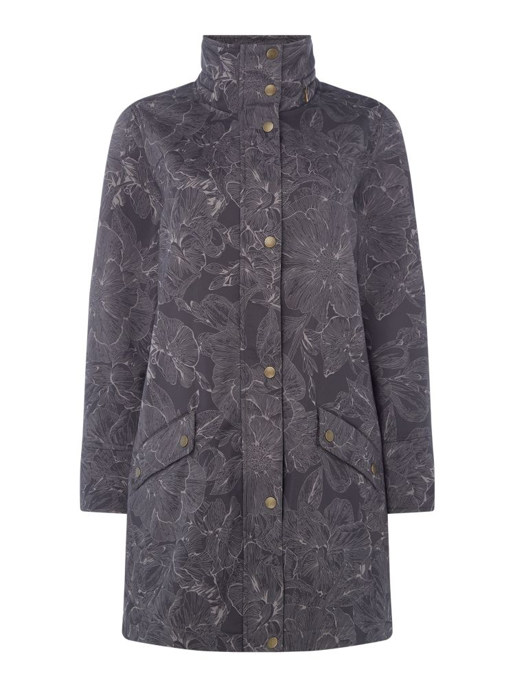 TIGI Leaf Printed Coat, Charcoal