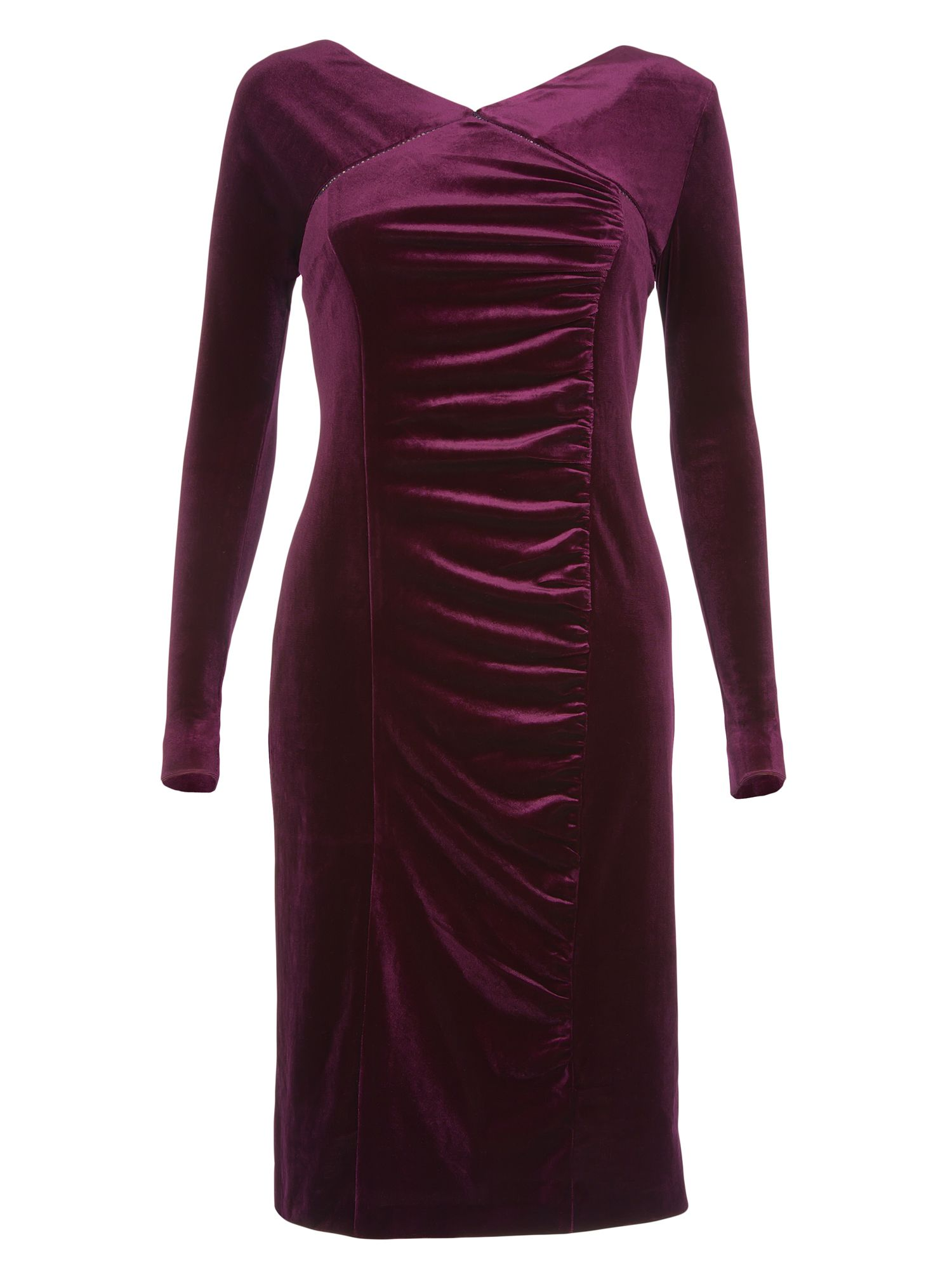 Long sleeved v neck velvet dress
