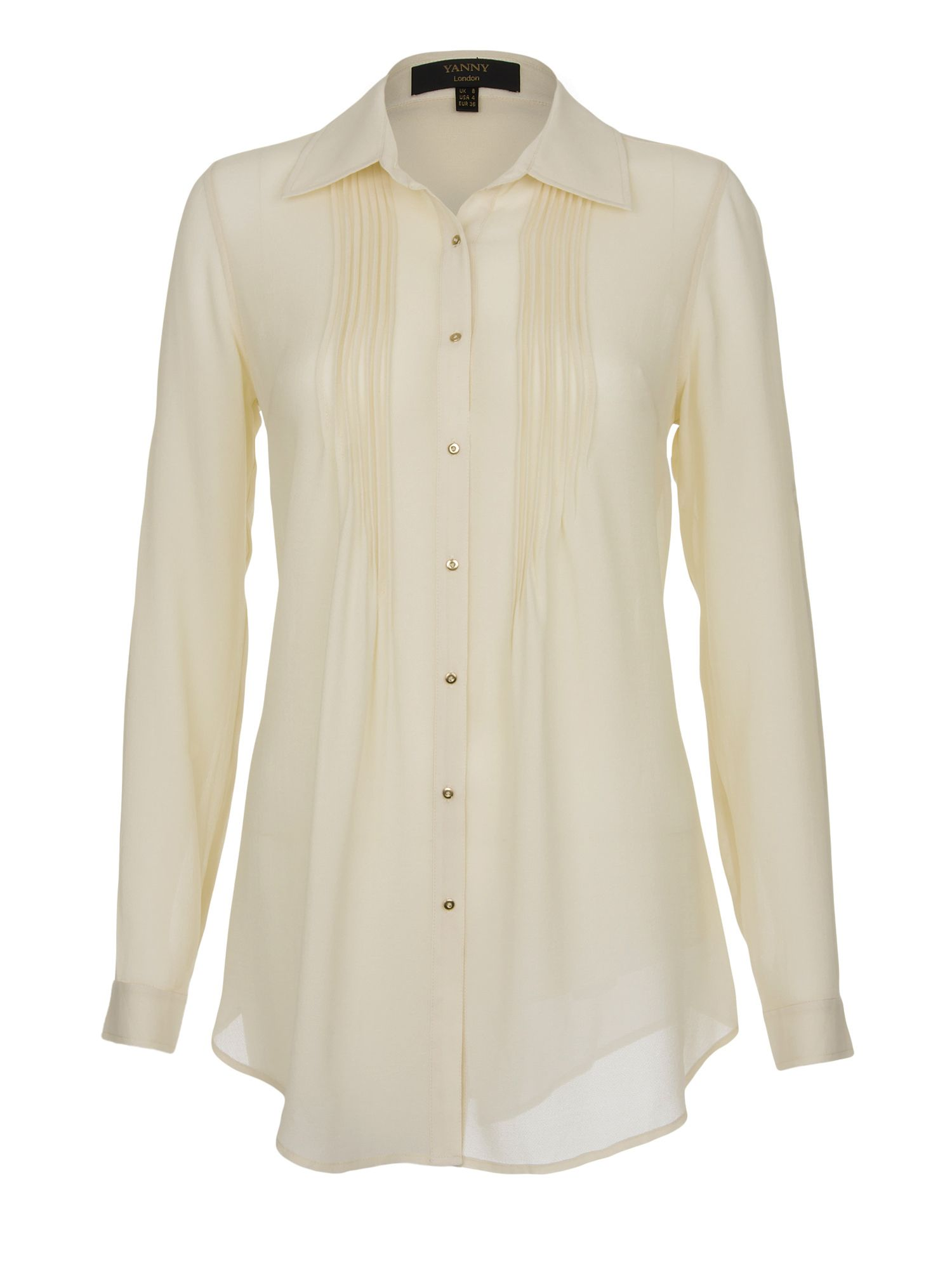 Pintuck silk georgette shirt