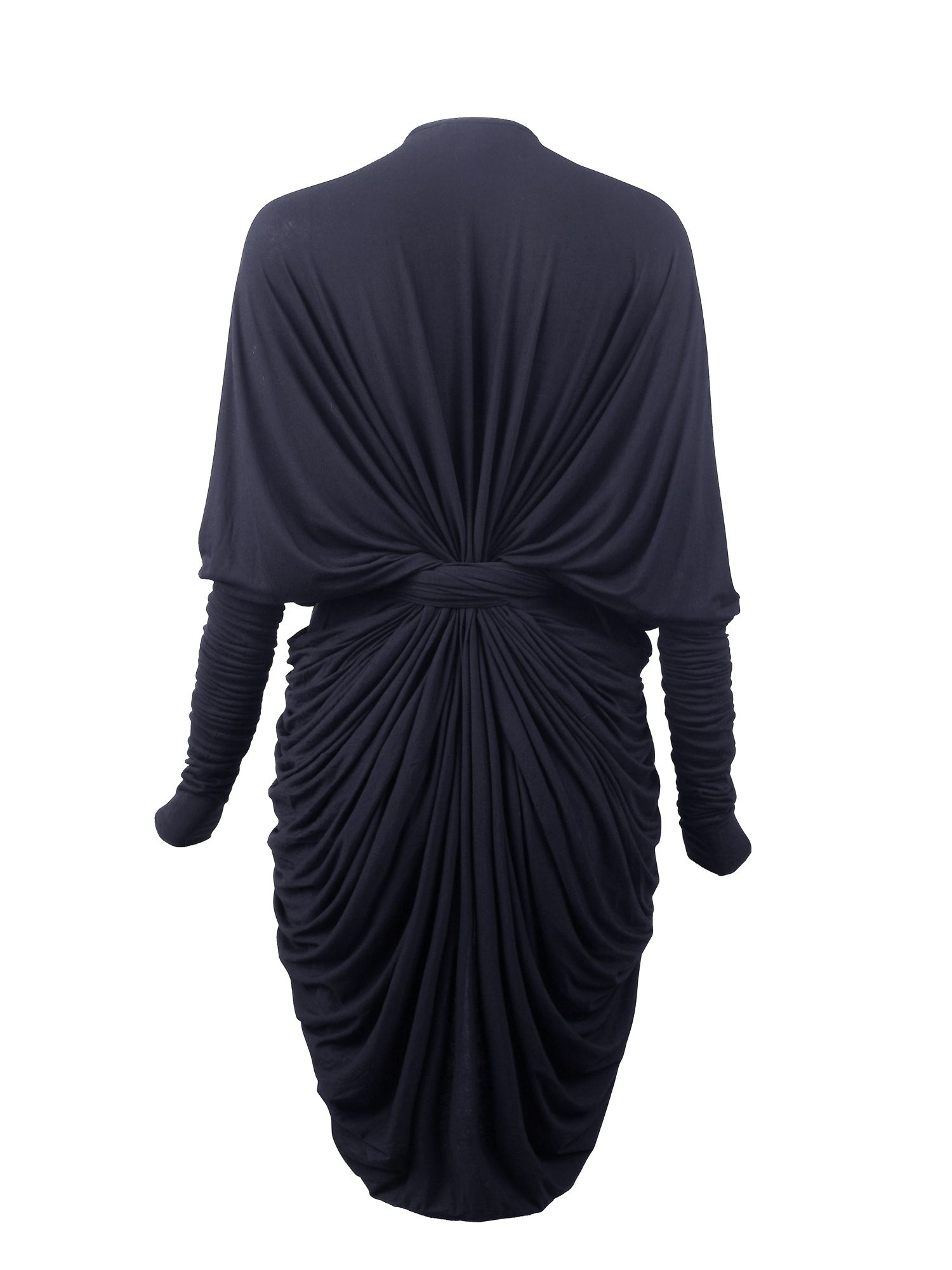 Draped wrap with long fitted sleeves