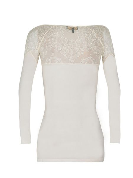 Yanny London French chantilly lace and silk top