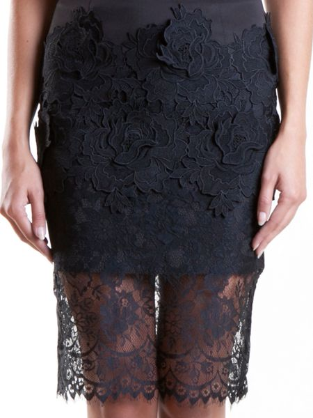 Yanny London Lace Embroidery Pencil Skirt