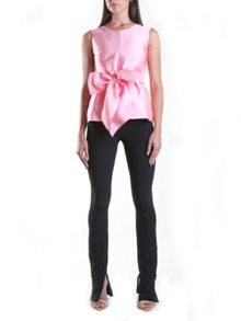 Yanny London Pink Sleeveless Tie Bow Top