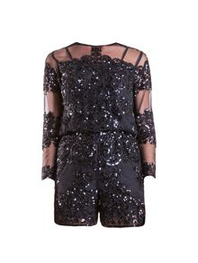 Black Sequin Shorts Jumpsuit
