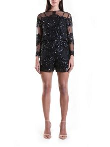 Yanny London Black Sequin Shorts Jumpsuit