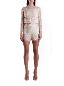 Cream Sequin Shorts Jumpsuit