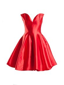 Red Taffata Sleeveless Prom Dress
