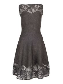 Grey Knit Lace A-Line Dress