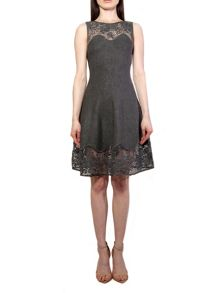 Yanny London Grey Knit Lace A-Line Dress