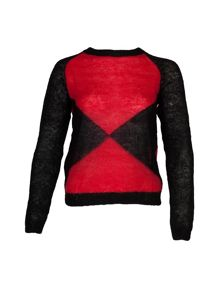 Black And Coral Mohair Wool Jumper