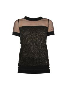 Yanny London Black tweed mesh tee