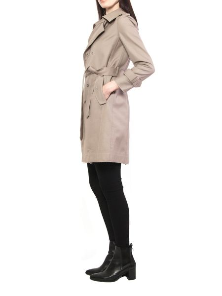 Yanny London Beige Double Breasted Metal Stud Trench Coat
