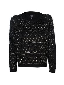 Yanny London Black Jumper With Silver Studs