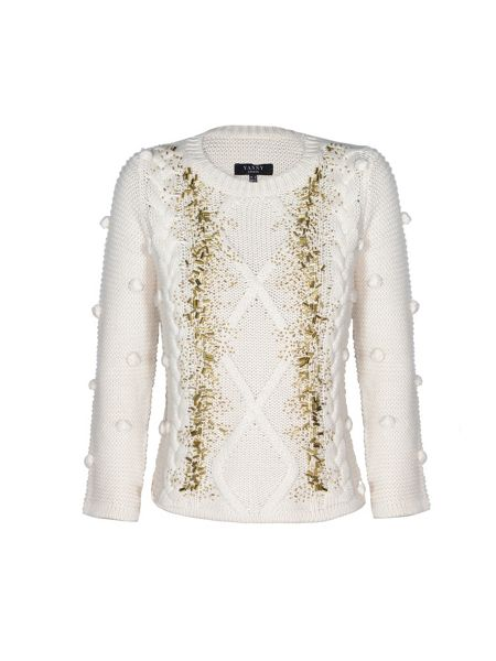 Yanny London Cream Cable Knit Jumper With Gold Beads