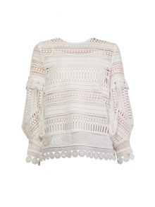 Yanny London White crochet lace blouse