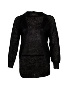 Yanny London Black knitted mohair cardigan