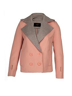 Pink & grey tweed crop jacket