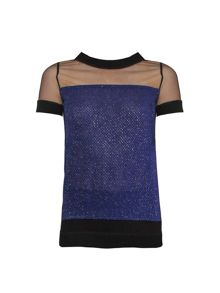 Yanny London Blue tweed mesh tee