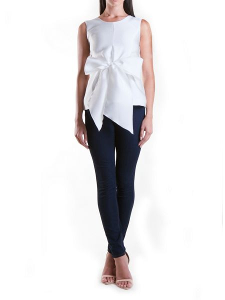 Yanny London White Waist Tie Bow Blouse