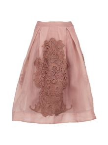 Yanny London Nude Organza Lace Midi Skirt