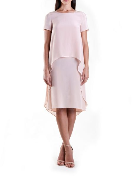 Yanny London Nude Silk Double Layer Tee Dress