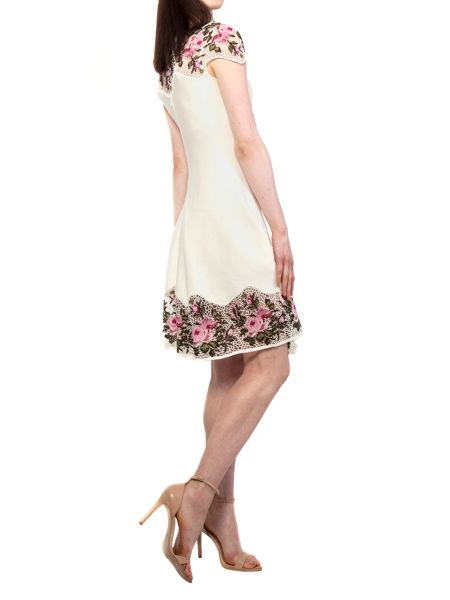 Yanny London White Knitted Lace A Line Dress