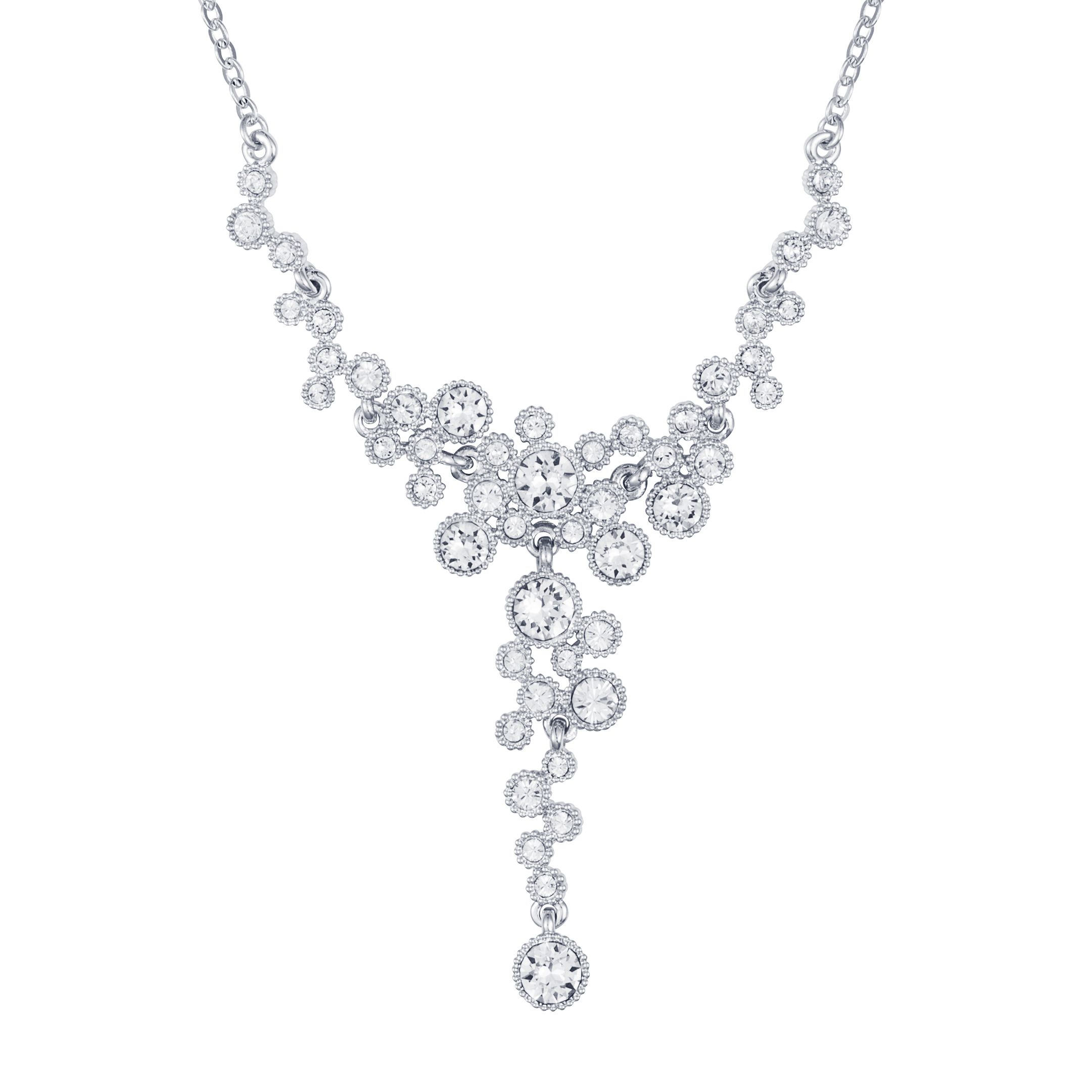 Rhodium plated titania multibubble necklace
