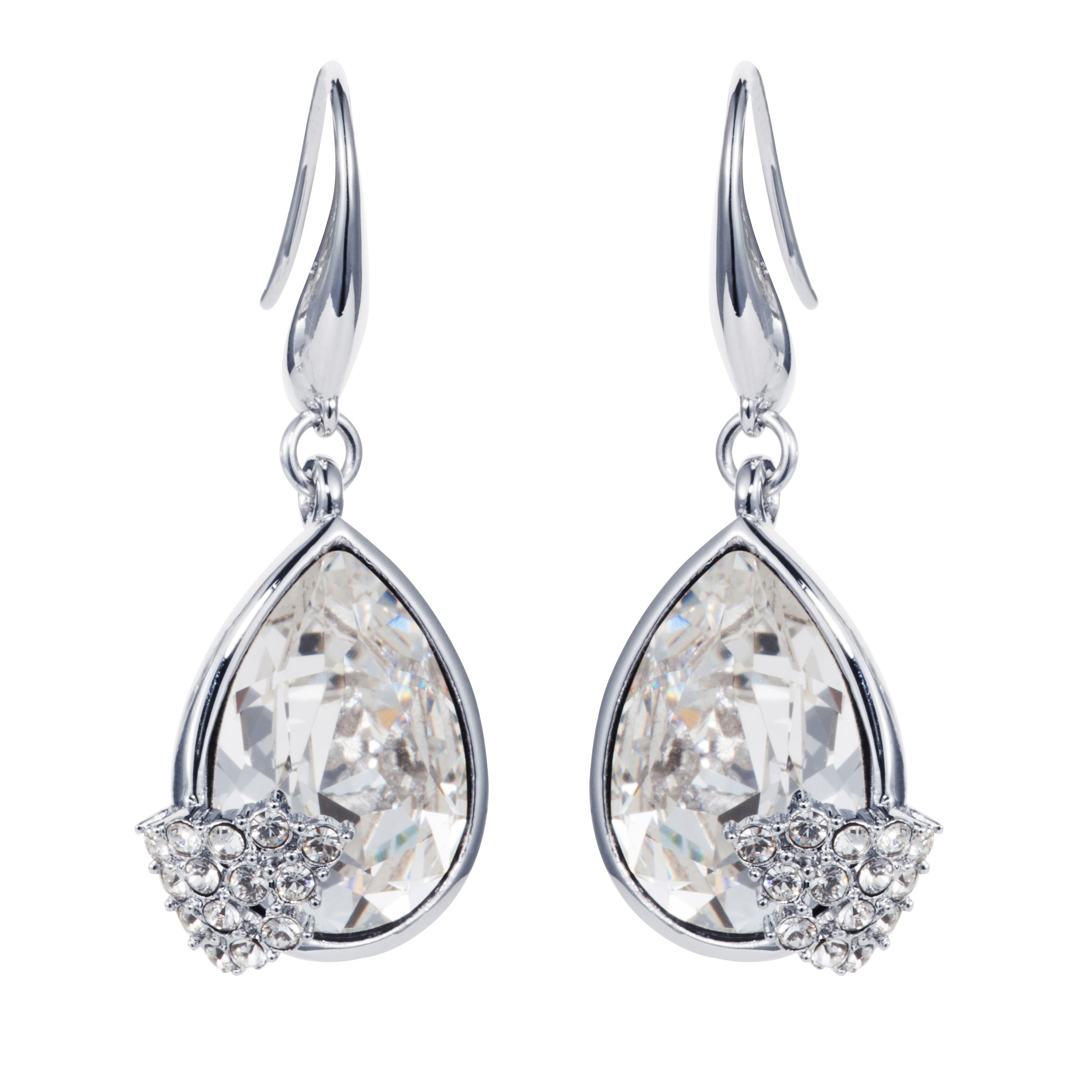 Rhodium plated titania pear cut earrings