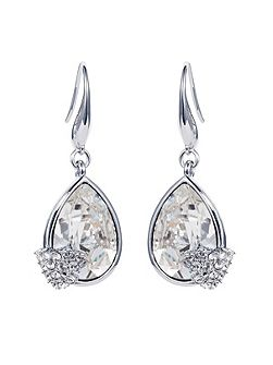 Caroline Creba Rhodium plated titania pear cut earrings
