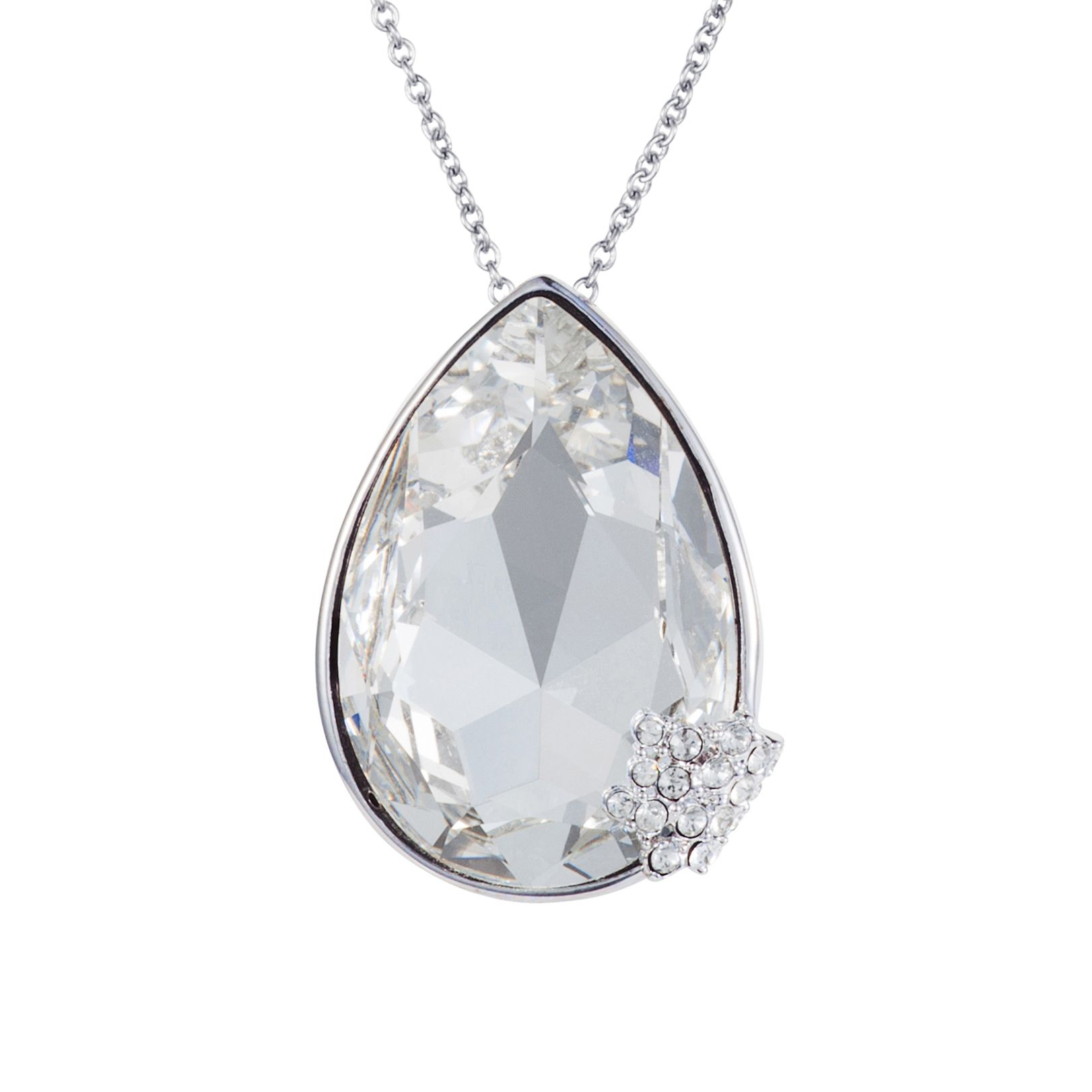 Rhodium plated titania pear cut pendant