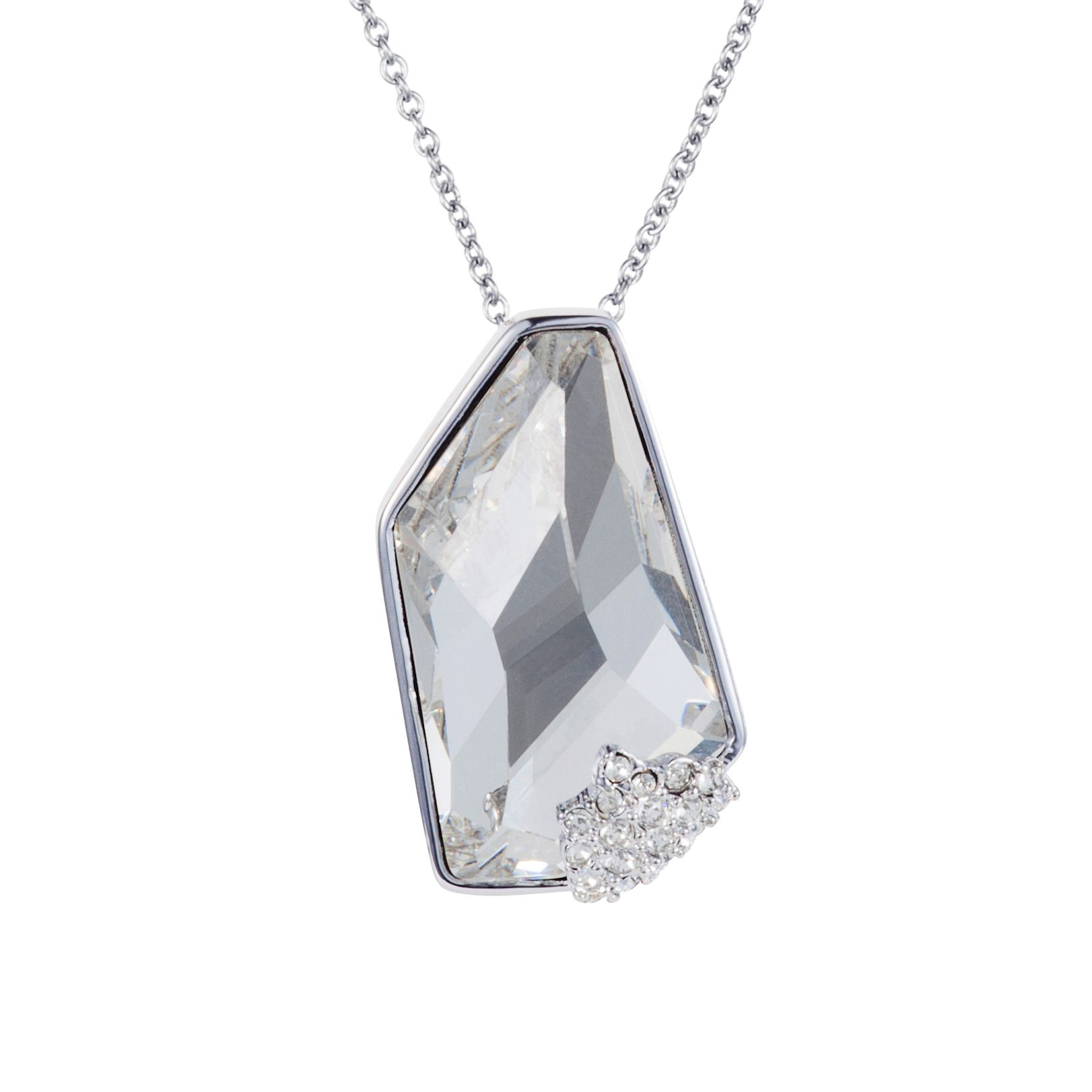 Rhodium plated titania grand galactic cut pendant