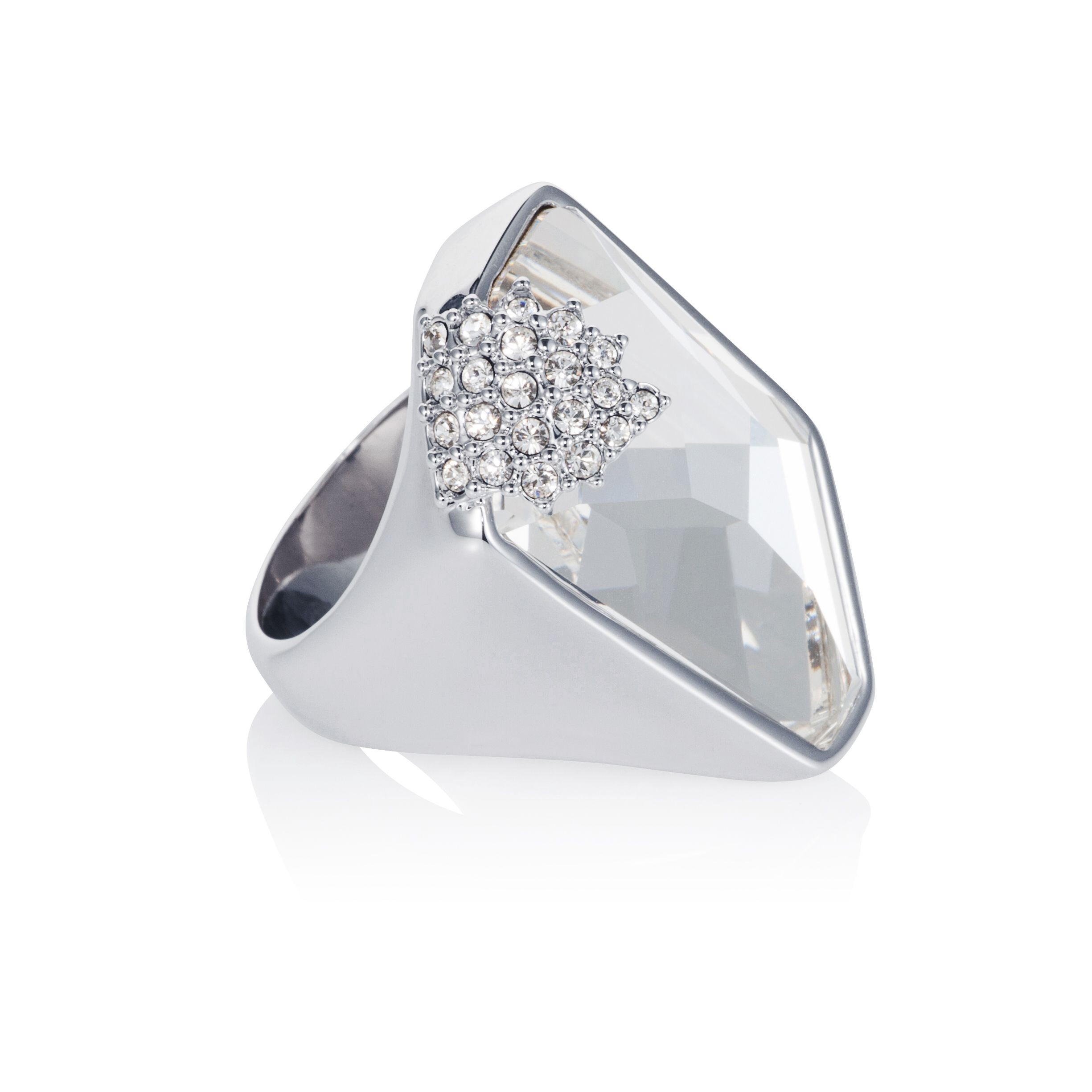 Rhodium plated titania grand galactic cut ring