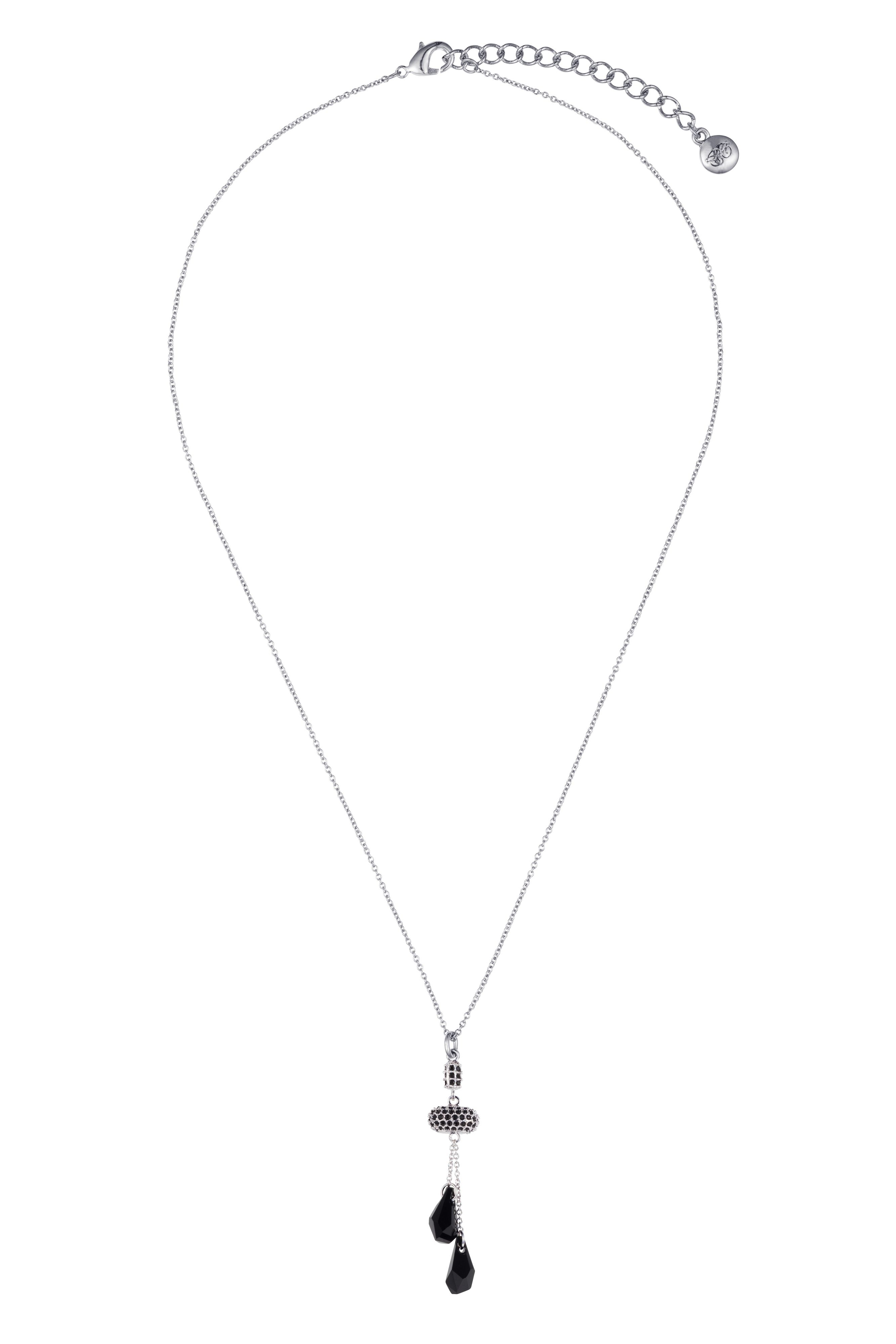 Rhodium plated titania fancy drop pendant