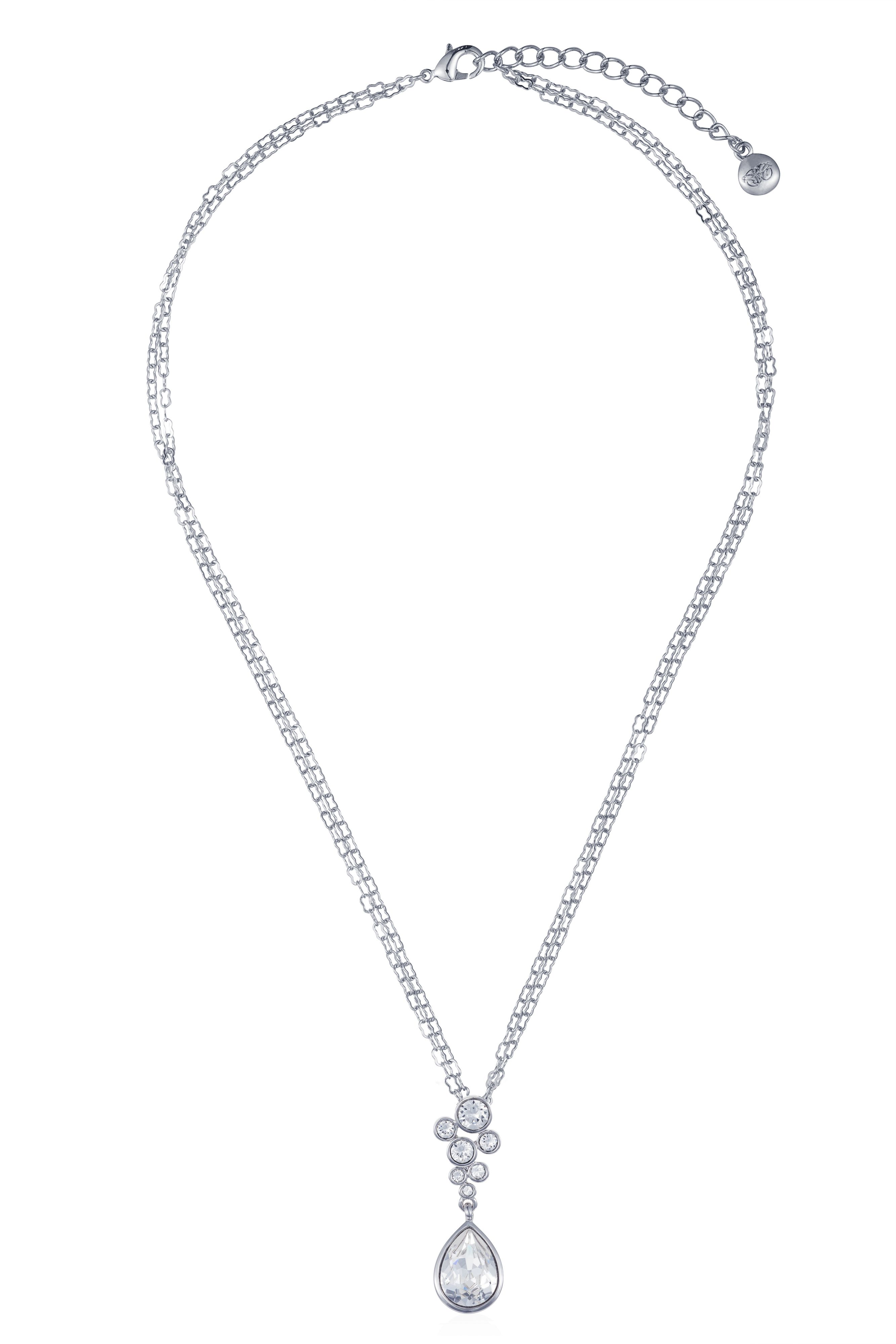 Rhodium plated titania multibubble pendant