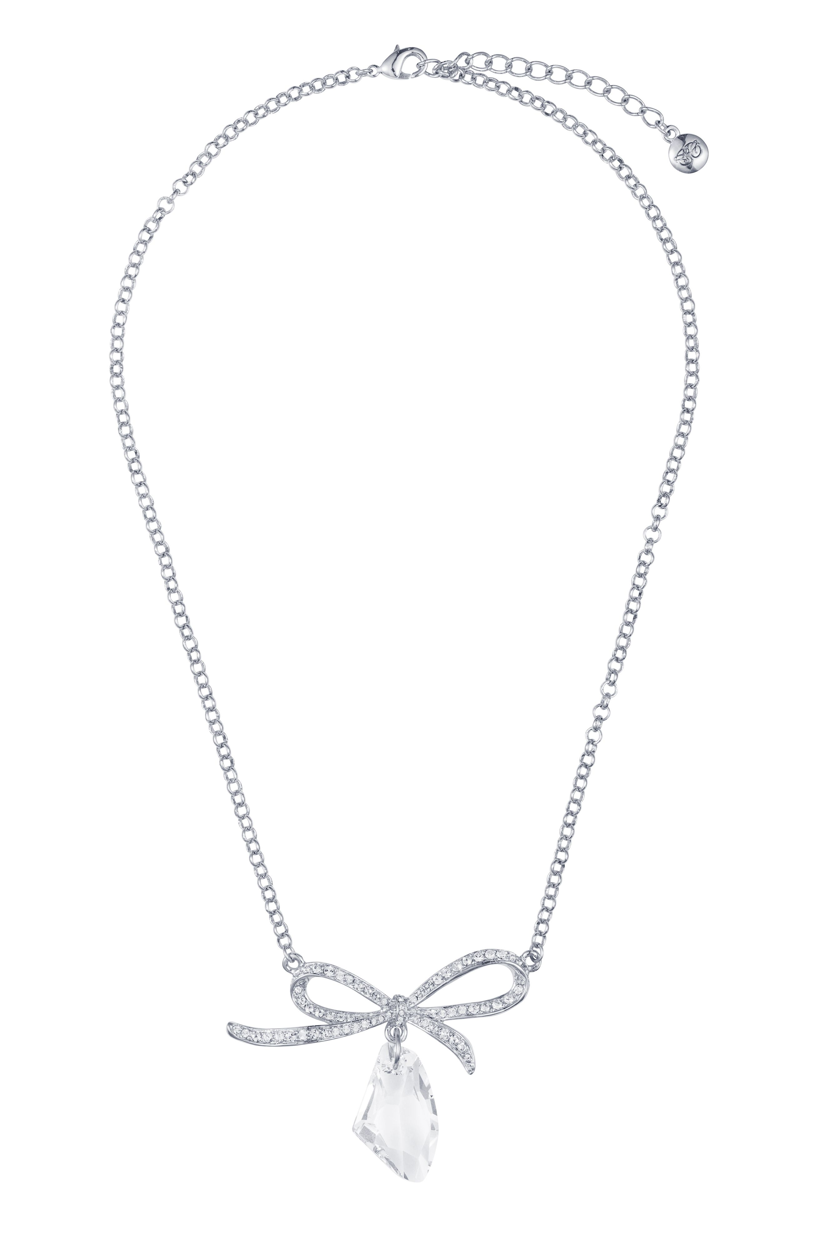 Rhodium plated titania fancy bow pendant