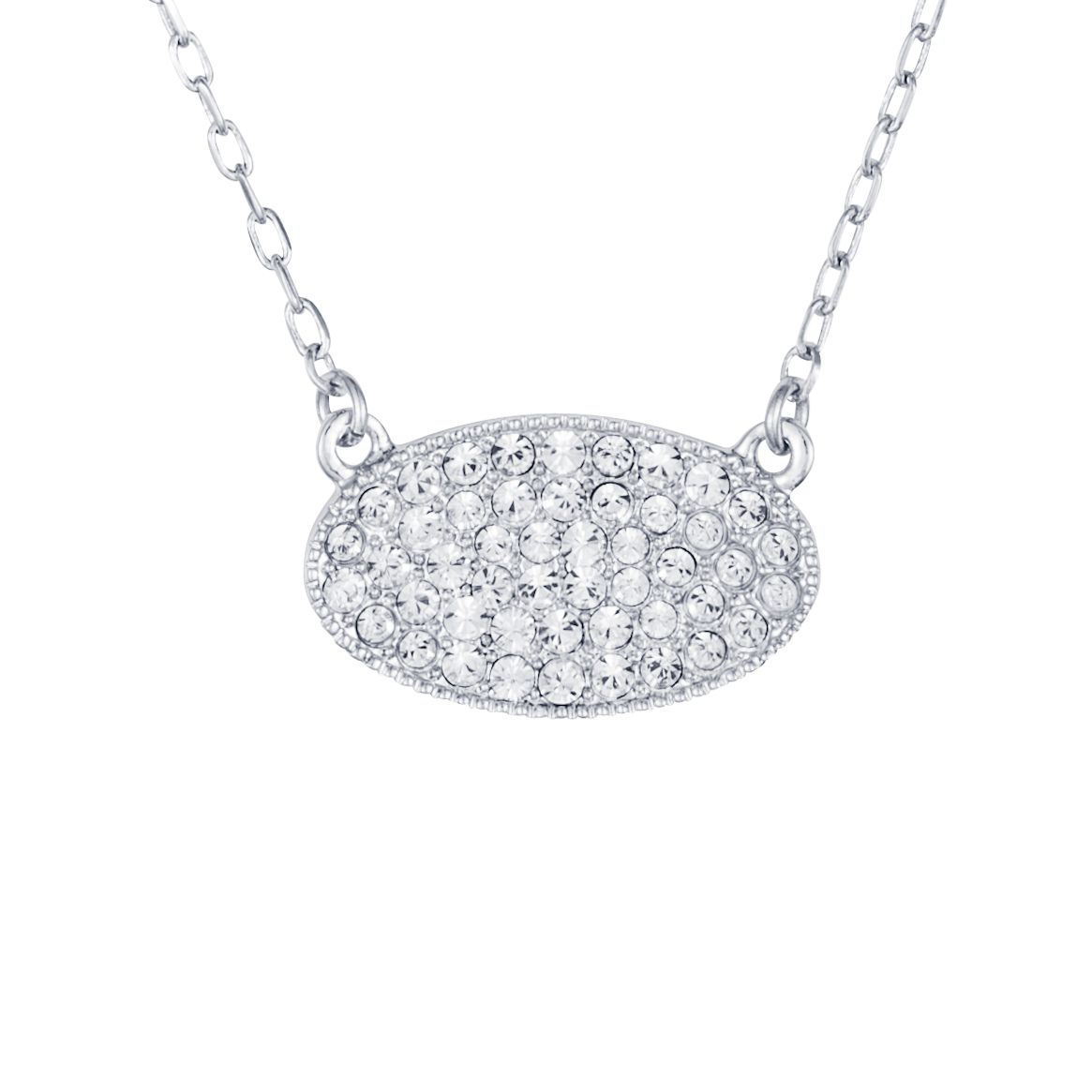 Rhodium plated titania pave set oval pendant