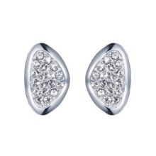 Rhodium plated titania pave set stud earrings