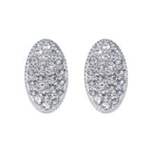 Rhodium plated titania pave oval stud earrings