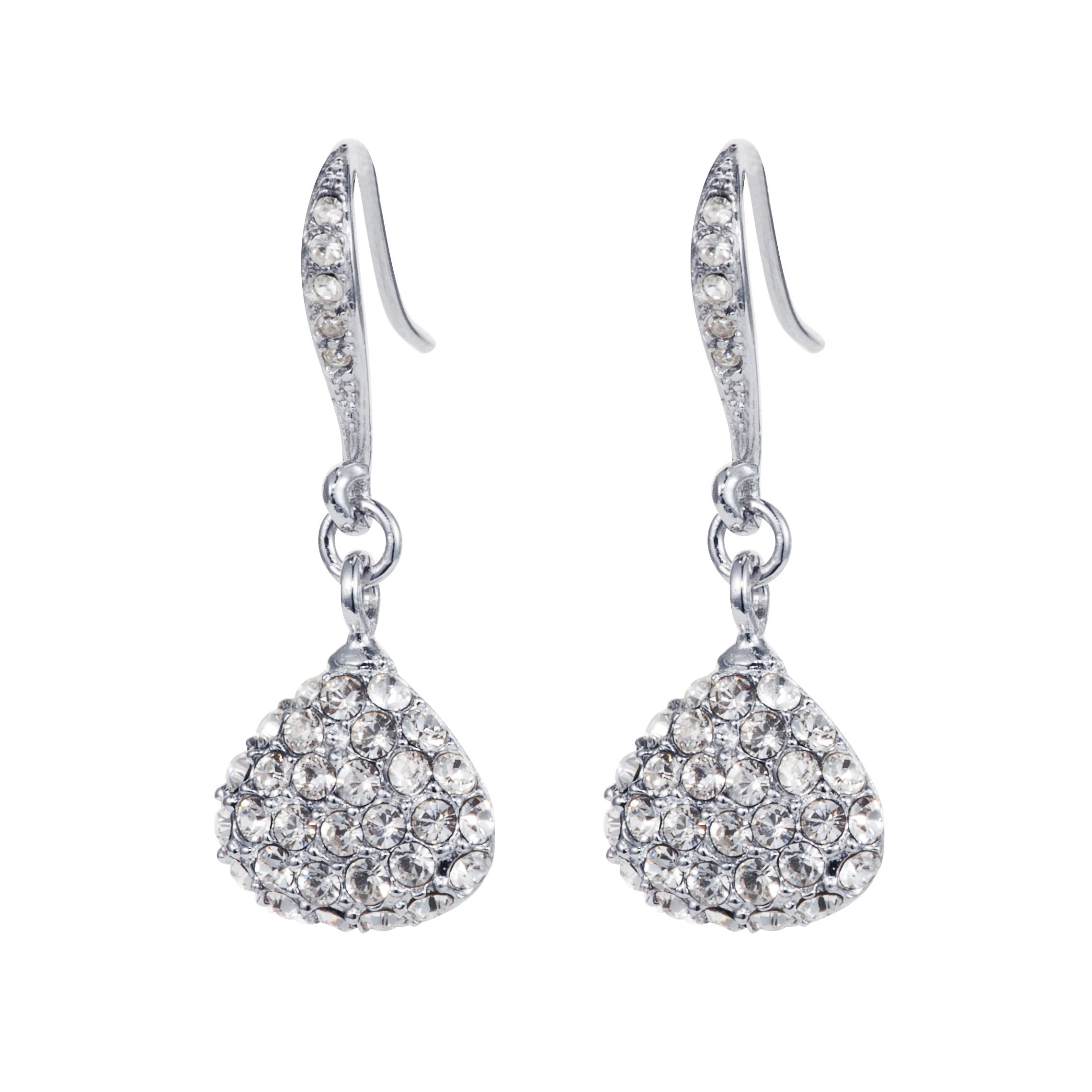Rhodium plated titania pave drop earrings