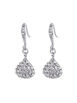Caroline Creba Rhodium plated titania pave drop earrings