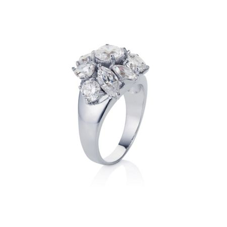 Titania collection rhodium plated cluster ring