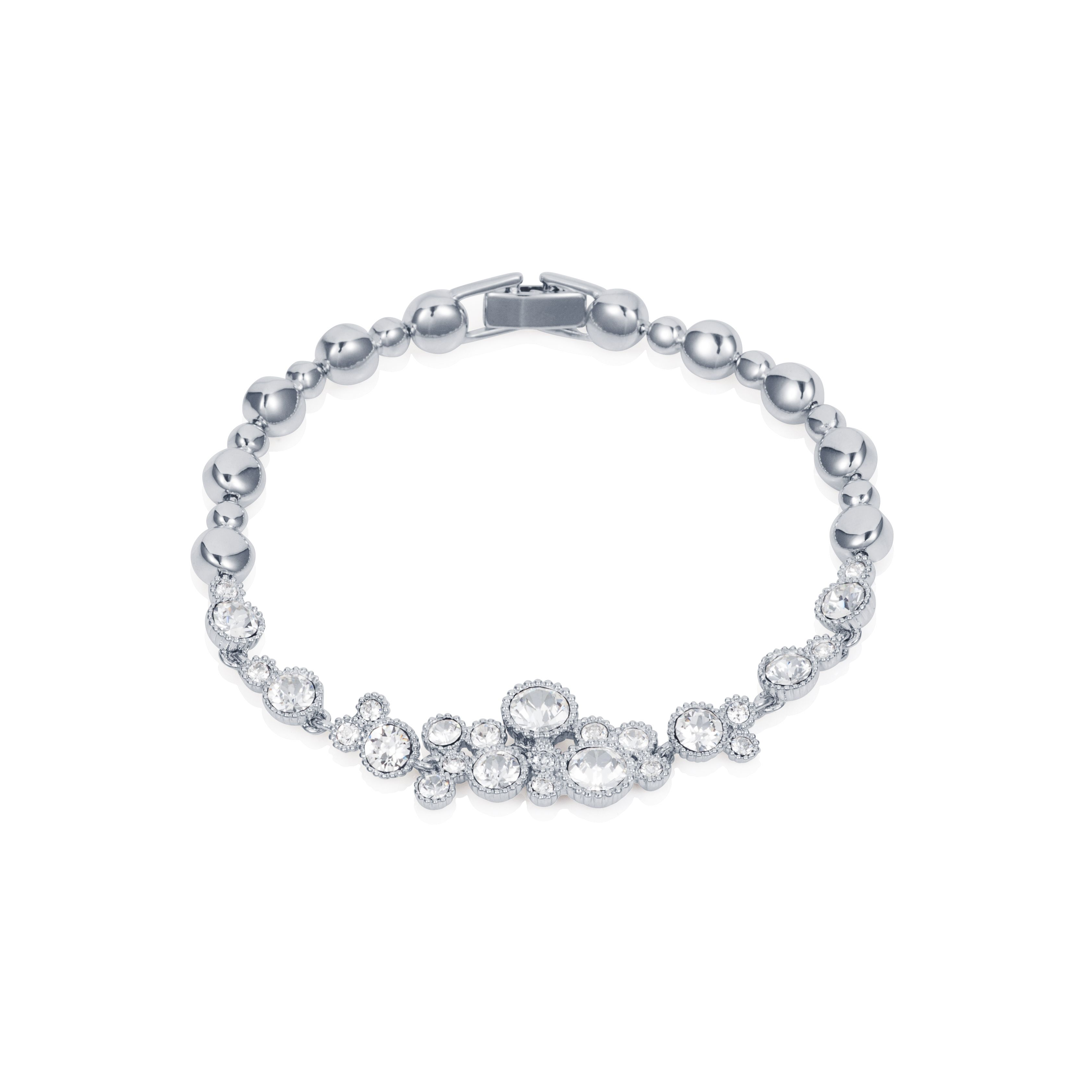 Rhodium plated titania multi bubble bracelet