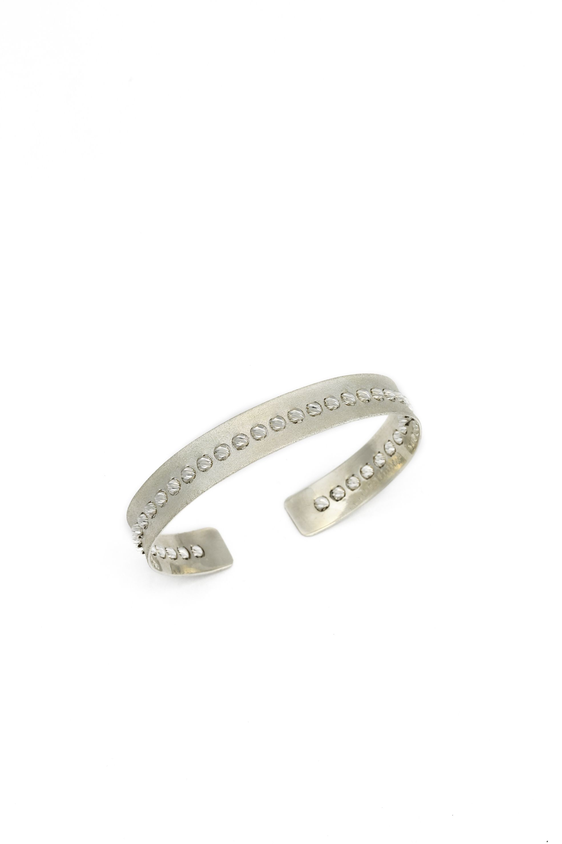 Handmade diamond cut platinum bracelet