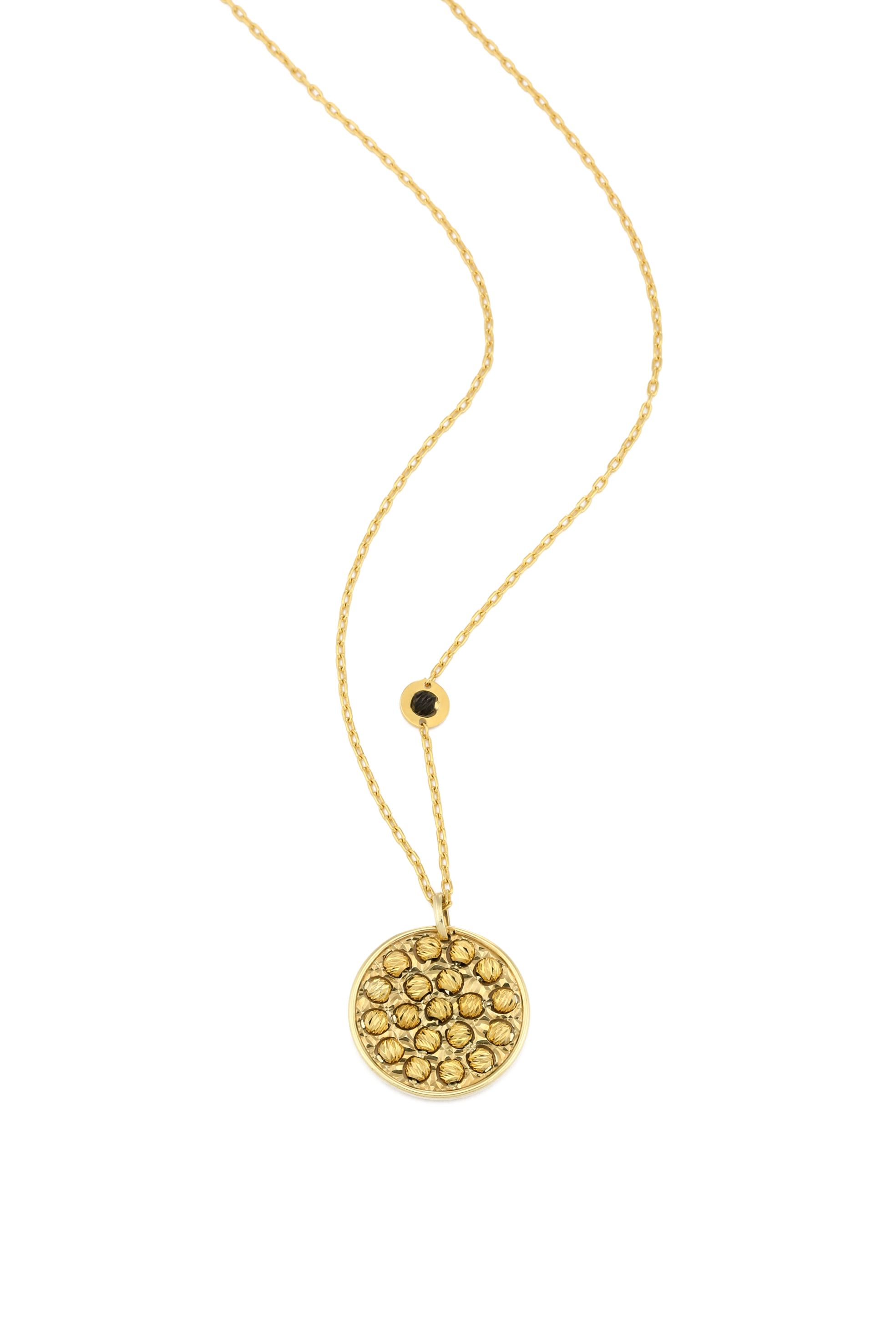 Handmade diamond cut 24ct gold disc small necklac