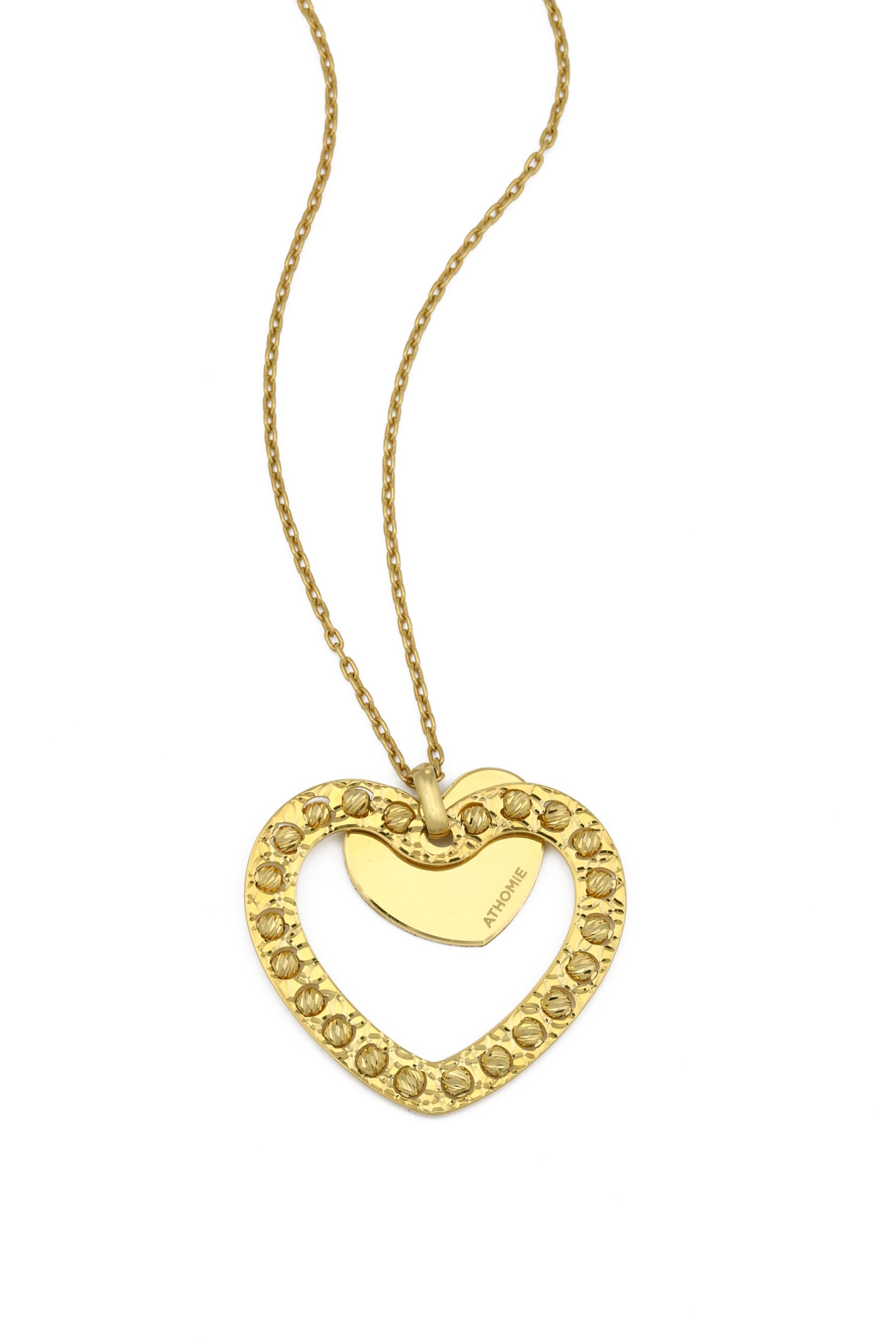 Handmade diamond cut 24ct goldheart pendant