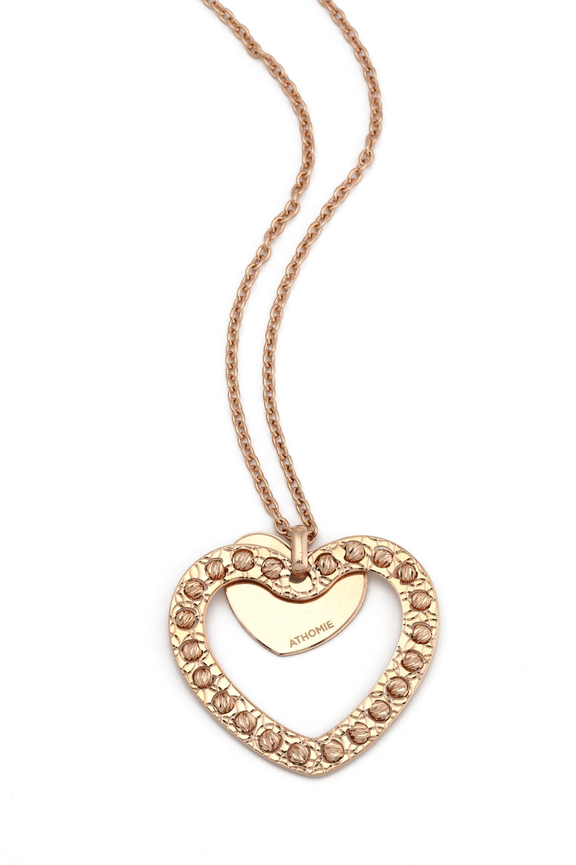 Handmade diamond cut 24ct rose goldheart pendant